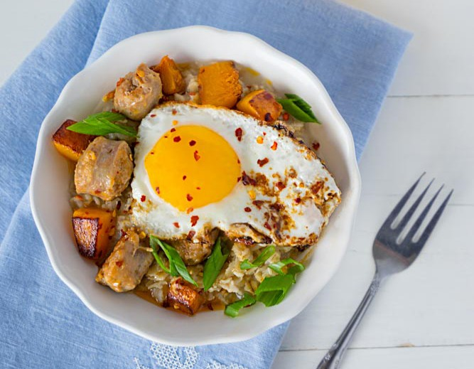 Savory Oatmeal with Fried Egg