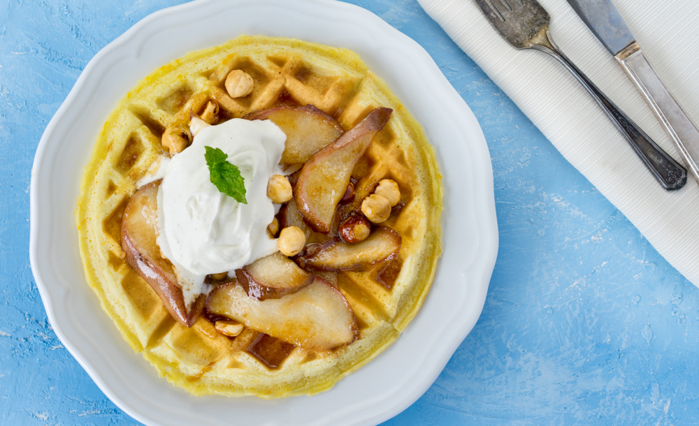 Weightless Belgium Waffles with Caramelized Pears