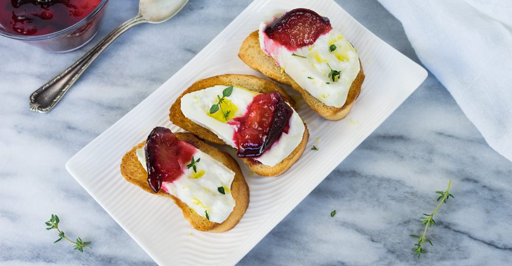 Lemon Burrata and Poached Plums Crostini