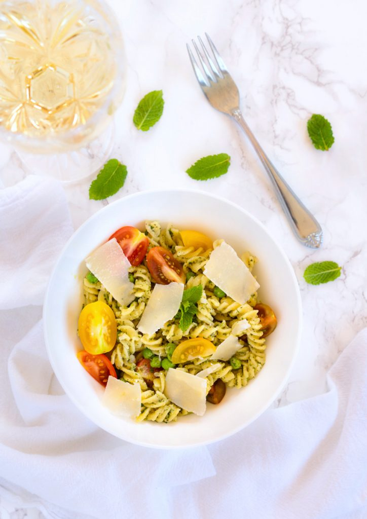 Gluten Free Pasta with Homemade Mint Pesto in 30 minutes