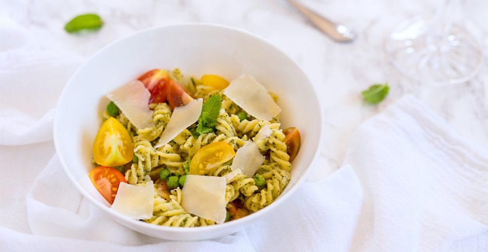 Gluten Free Pasta with Homemade Mint Pesto