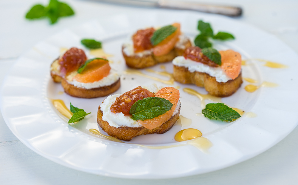 Blood orange Jam and Grapefruit Goat Cheese Crostini