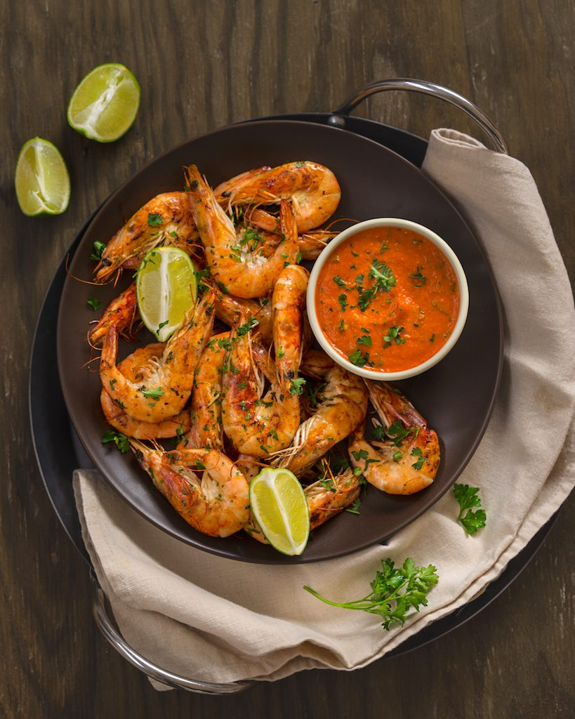 Pan Cooked Shrimp with Piquant Romesco Sauce