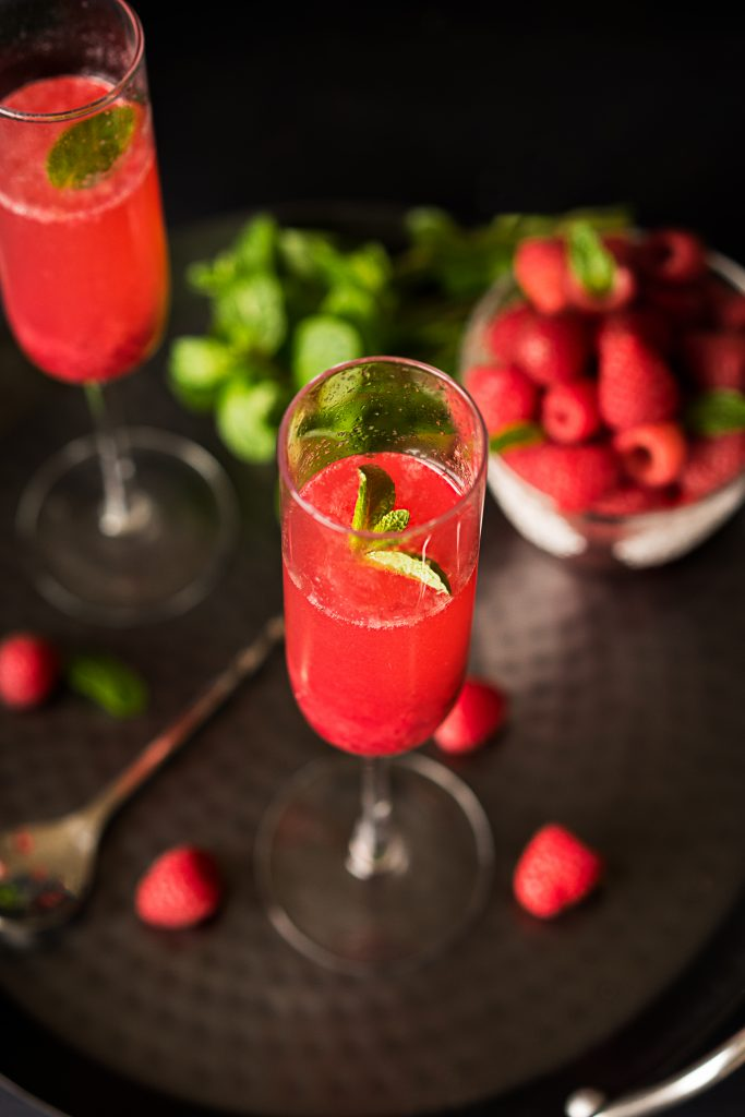 Raspberry Sparkling Cocktail with Mint leaves